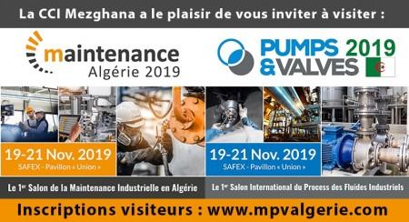 Salons MAINTENANCE Algérie 2019 et PUMPS & VALVES Algérie 2019